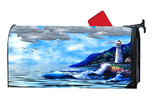 Rock Gull - Magnetic Mailbox Cover - All Weather Vinyl Mailbox Wrap with Decorative Lighthouse Design, Standard Size, 6.5 x 19 inches - Ocean Splendor Lighthouse Seagulls Rocks