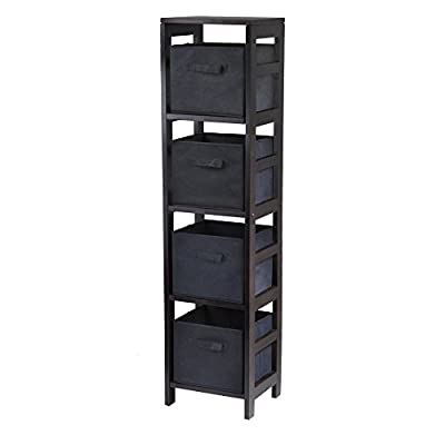 Winsome Wood 4-Shelf Narrow Shelving Unit