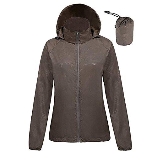 ZIMCA Unisex Packable Lightweight UV Protect Jackets Outdoor Windbreaker Quick-Dry Skin Rain Coat (Women M/Men S, Brown)