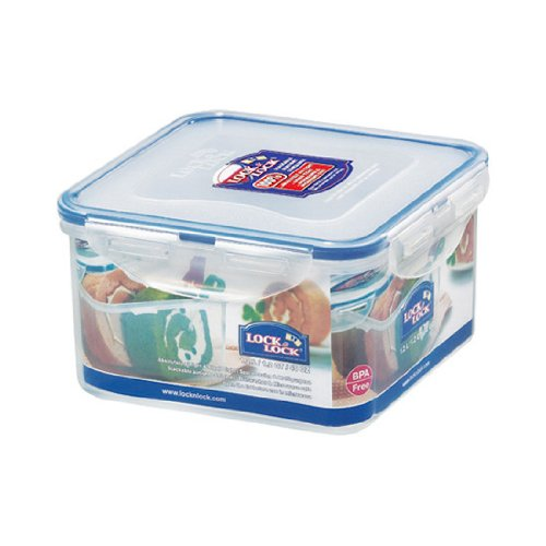 Lock&Lock 40-Fluid Ounce Square Food Container, Short, 5-Cup (Lock And Lock Microwave compare prices)