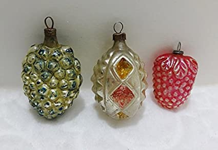 early 1900s antique christmas ornaments hand blown glass set