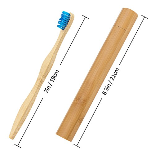 6 Colors Natural Bamboo Toothbrush + a Bamboo Toothbrush Case for Travel, Biodegradable Eco-Friendly Toothbrush with BPA Free Nylon Bristles for Adult by Homtable (Image #1)