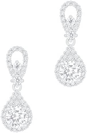 18k Gold Plated Solitaire Cubic Zirconia Accent Halo Drop Earrings (0.95 carats)