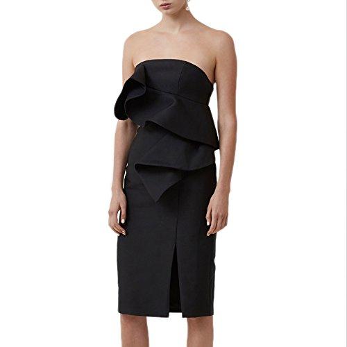 Keepsake The Label Awake Strapless Ruffle Dress in Black (X-Small, Black)