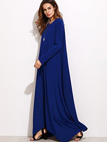 Party Blue Maxi Loose Women's MakeMeChic Pocket Dress Sleeve Long Casual Long qpRxnFHS