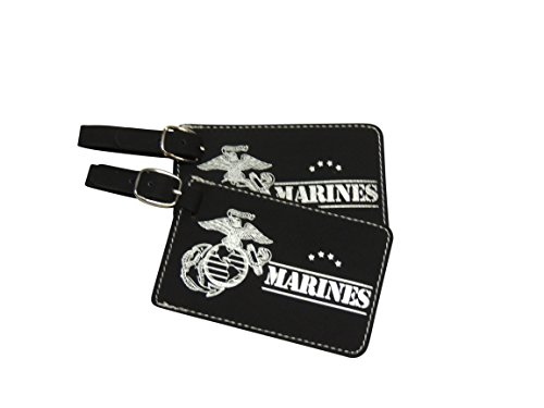 (US Marines Corp, Luggage Tag Set, United States Marine Corps (Black Leather))