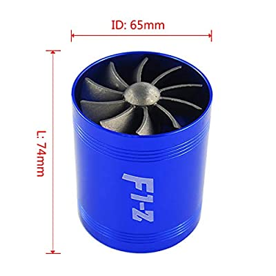 """PTNHZ RACING 2.5"""" F1-Z Double Car Supercharger Turbine Turbo Charger Air Intake Gas Fuel Saver Fan Blue: Automotive"""