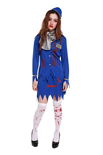 Dead School Girl Costume (Women's Zombie Stewardess Costume Bloody Flight Attendant Uniform Halloween Outfit (Medium))