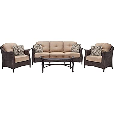 Hanover Gramercy 4-Piece Outdoor Wicker Patio Set, Brown/Tan