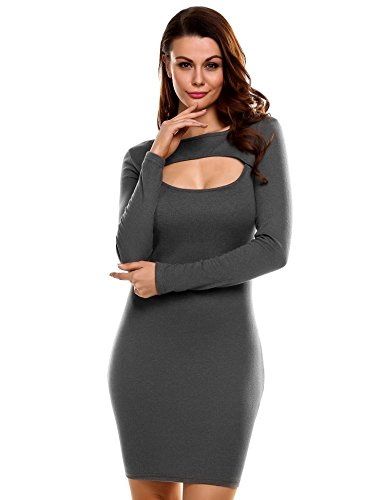 Zeagoo Womens Sexy Open Front Long Sleeve Stretch Bodycon Slim Fit Keyhole Pencil Party Dresses,Gray,XL