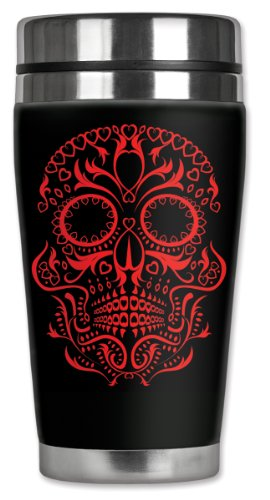 Mugzie Red Sugar Skull Travel Mug