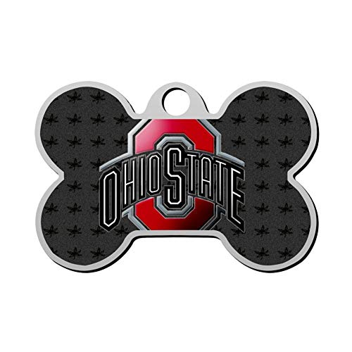Mhmkrot Ohio State Football Dog Tag Pet ID Tags Cat Tags Bone Shaped Zinc Alloy Identity Pendant Trendy Funny Double Sided Printed - DIY Custom