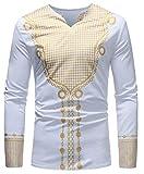 Hajotrawa Mens V-Neck Dashiki Muslim Ethnic Style Print Breathable Top T-Shirts White M