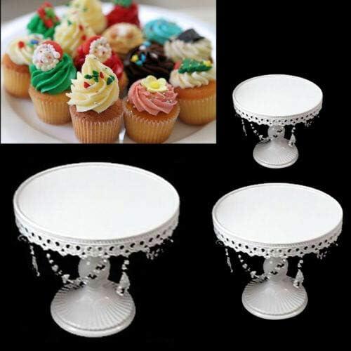 dessert rotonda bianco matrimonio Alzata per torte 3 pezzi cristallo per cupcake festa