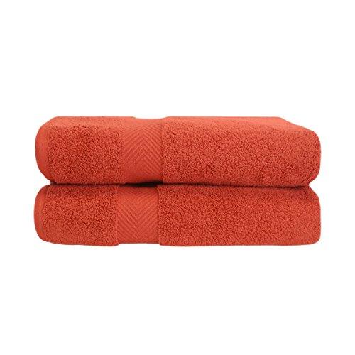 2 Bath Sheets Sets (Superior Zero Twist 100% Cotton Bath Sheet Towels, Super Soft, Fluffy, and Absorbent, Premium Quality Oversized Bath Sheet Set of 2 - Brick, 34