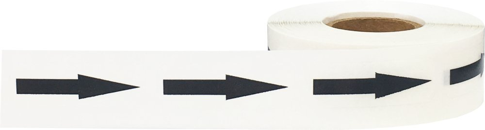 Removable Document Arrow Labels Black Transparent 1/2 x 1 1/2 Inch 500 Total Stickers by InStockLabels.com (Image #1)