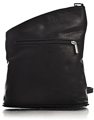 Big HandbagShop - Bolso tipo bandolera para mujer, piel italiana White - Black Trim