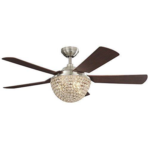 Parklake 52-in Brushed Nickel Downrod Mount Indoor Ceiling Fan with Light Kit and Remote Review