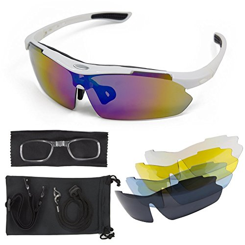 Polarized Sunglasses Sport Cycling Men - Women LT&PK For Fishing Golf Driving Riding Baseball Goggles UV Protection TR90 Frame Superlight 2017 New Design With 5 Interchangeable Lenses (black, - Dollar Glasses 25