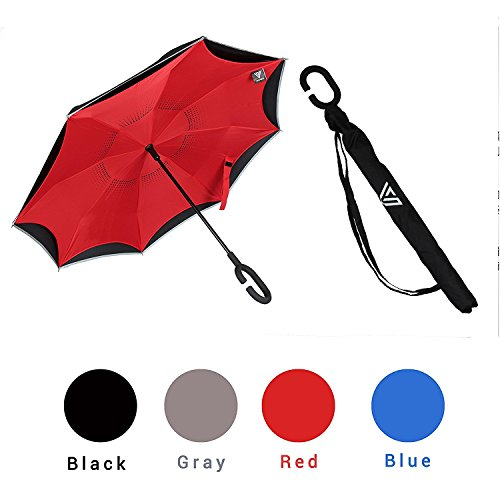 Windproof Nylon Umbrella (Inverted Umbrella with Automatic Open by Vitchelo - Up Side Down Umbrella with Hands Free C-Handle, Reverse Folding Mechanism - Windproof Parasol, Golf Umbrella Made for Outdoor & Car Use)