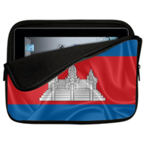 10 inch Rikki KnightTM Cambodia Flag Design Laptop sleeve - Ideal for iPad 2,3,4, iPad Air, Galaxy Note, Small Notebooks and other Tablets