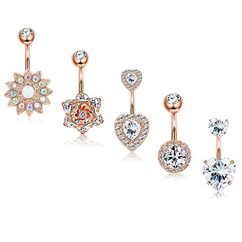 Finrezio 5Pcs 14G Belly Button Rings Surgical Steel Sunflower Flower Rose Heart CZ Navel Ring Set Rose Gold Plated Belly Piercings Body Jewelry