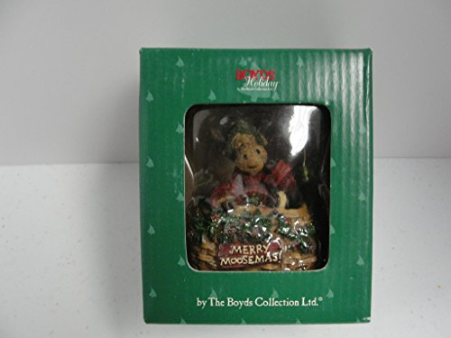 Boyds Bears Moose in Creel Basket Hanging Resin Ornament