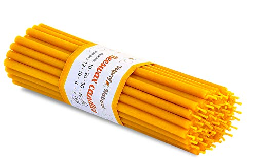 "Votprof 50 Natural 100% Pure Raw Beeswax Taper Candles (6"") Natural Honey Scent Birthday Cake"