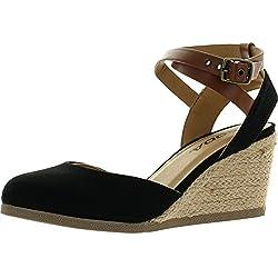 Soda Womens Request Closed Toe Espadrille Wedge Sandal In Black Dark Tan Linen,Black/Dark Tan,6.5