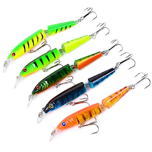 DIBIO 5pcs/lot Jointed Fishing Lures for Bass Pike Muskie Sinking Crankbait Lures Topwater Baits Walleye Baits for Freshwater Saltwater 4.1