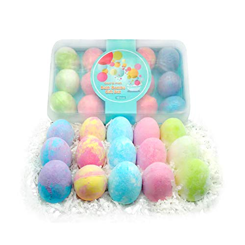 15 Pack Bath Bombs Gift Set for Kids with Natural Ingredients, Colorfull Egg Shape Bath Bombs Gift Set for Christmas and New Year and Birthday