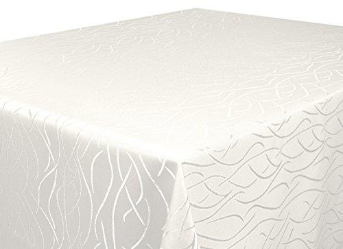 Tischdecke creme Rund 160 cm in glanzvoller Streifenoptik, eckig - Größe, Farbe & Form wählbar (Rund Eckig Oval)