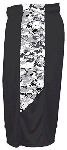 Badger Big Boys' Digital Panel Side Pocket Short, X-Small, Black/ White Digital by Badger (Image #1)