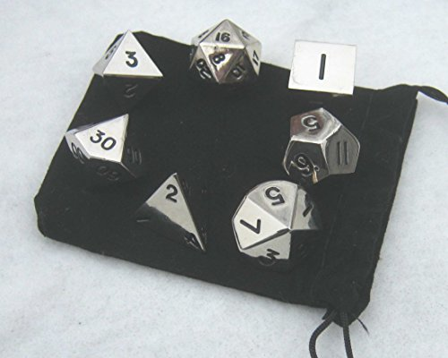 Polyhedral Metal Dice Silver Color product image