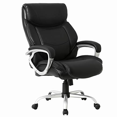High-Back Big and Tall Office Chair 400lb Executive Chair Ergonomic PU Desk Task Chair Rolling Swivel Chair Adjustable Computer Chair with Lumbar Support Headrest Leather Chair for Women, Men (Black) ()