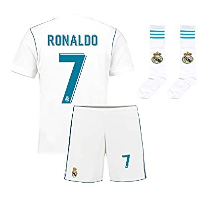 Youth Real Madrid #7 Ronaldo Kids Home Soccer Jersey & Shorts Socks Boys Sizes White