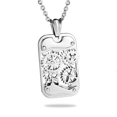 Davitu Stainless Steel Titanium Steampunk Necklaces /& Pendants Gear Square Mechanical Necklace Men Jewelry Punk Rock 35mmx21mm Metal Color: B