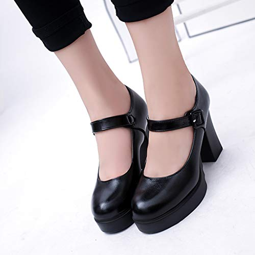 Para Piel Con Calzado Plataforma Paolian Primavera De Negro Negros Invierno Mujer 2019 Fiesta Vestir Zapatos Trabajo Elegantes Grueso Cuña Ancho Hebilla Tacón Alto qWUXR