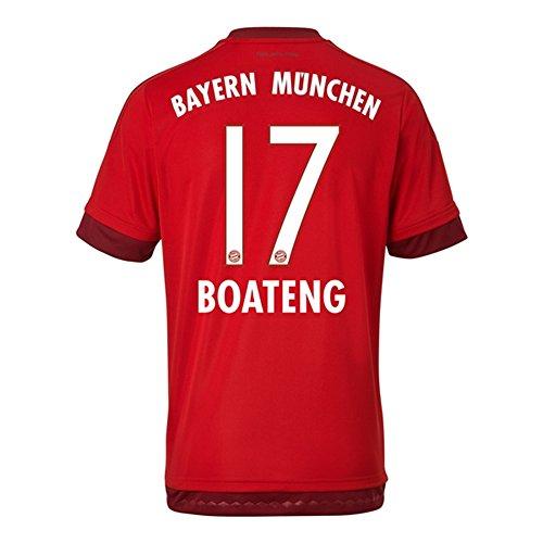 乳仮定スペースAdidas BOATENG #17 Bayern Munich Home Jersey 2015-16(Authentic name & number)/サッカーユニフォーム FCバイエルンミュンヘン ホーム用 ボアテング