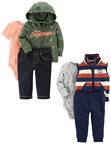 Carter's Baby Boys' 6-Piece Jacket and Vest Set, Explorer/Stripe, 6 Months
