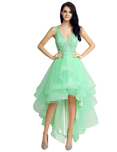 Belle House Zipper Back Tulle High Low Cocktail Homecoming Dress Mint