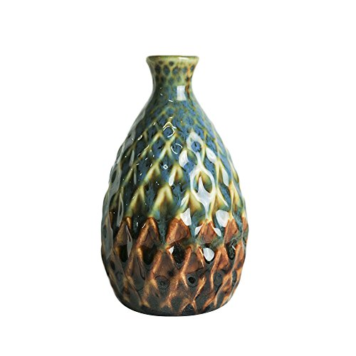 monque Ceramic Craft Pottery Pineapple Flower Vase Art Porcelain Minimalist Decoration Ornament Gift Creative Glaze White (Grade Pattern Ribbed)