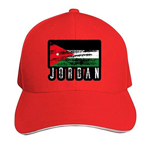 Jordan Flag Adjustable Baseball Cap, Old Sandwich Cap, Pointed Dad Cap Red