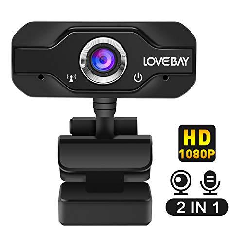 Lovebay HD Webcam Desktop Laptop USB Plug & Play 1080P Web Camera for Live Class Conference Rotatable Video Camera…