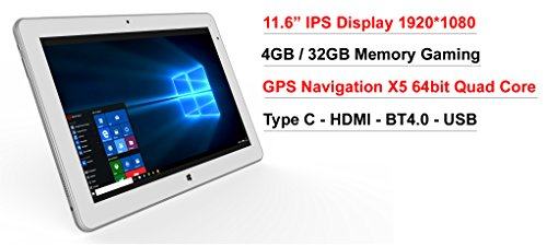 11.6'' IPS intel Atom X5 8350 2 in1 4GB 32GB EMMC GPS Windows 10 Laptop tablet PC by vitalASC