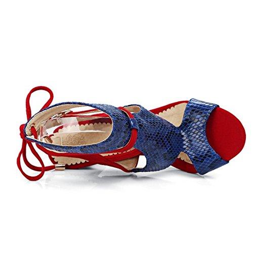 TAOFFEN Femmes Lacets Sandales Elegant Talons Hauts Sangle De Cheville Chaussures Rouge gorcu
