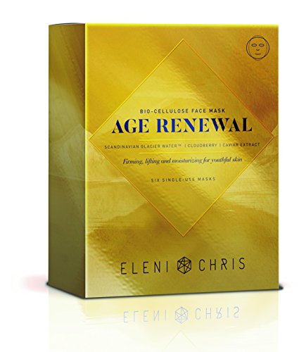 Eleni & Chris - Age Renewal Bio-Cellulose Face Mask, Firming and Moisturizing for Youthful Skin, Six Single Use Full Face Sheet Masks .91 Fl oz