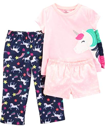 Carter's 3-Piece Toddler Girls' Unicorn and Star Pajamas with Side Ruffle Mane, (Pink/Navy) (4T)