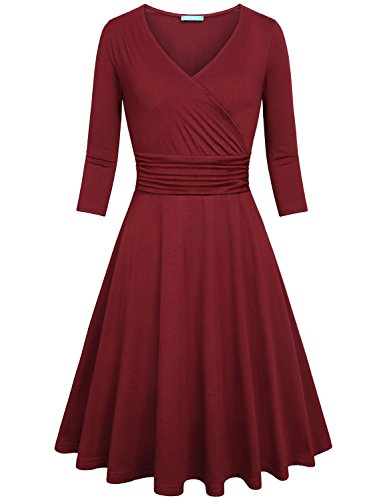Kimmery Swing Dress Women With Sleeves, Ladies Fall Vintage Dresses Half Sleeve Dinner Empire Waist Crossover V Neck Casual Designer Simple Work Birthday Party Stylish Plus Size Autumn Dress Wine XL