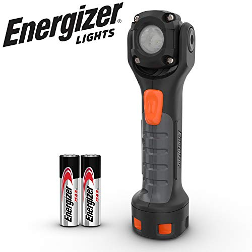 Energizer PIVOT PLUS LED Flashlight, IPX4 Water Resistant, Pivoting Head, High-Performance Work Light, Virtually Indestructible Body, Batteries Included